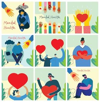 Podziel się swoją miłością. ręce i ludzie z sercami jak masaże miłości.