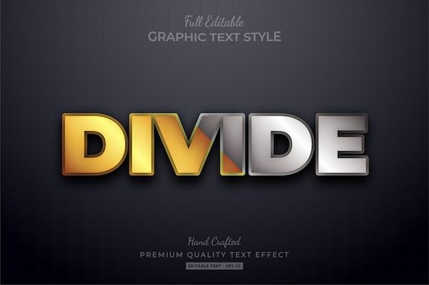 Podziel złoty srebrny edytowalny efekt stylu tekstu premium