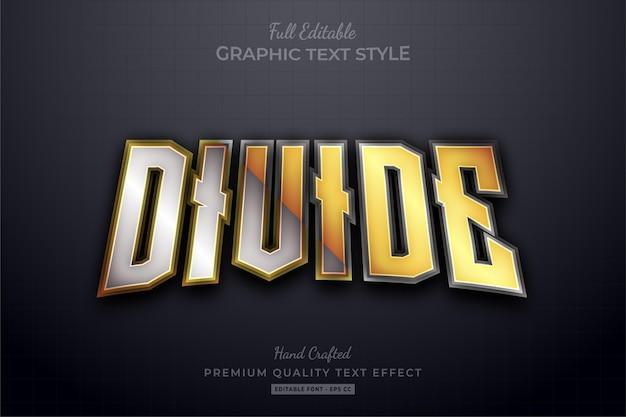 Podziel złoty srebrny elegancki efekt edytowalnego stylu tekstu premium