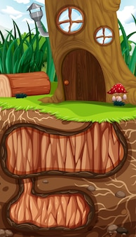Podziemna dziura dla zwierząt z powierzchnią ziemi sceny ogrodowej
