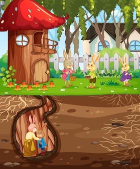 Podziemna królicza nora z naziemną powierzchnią sceny ogrodowej
