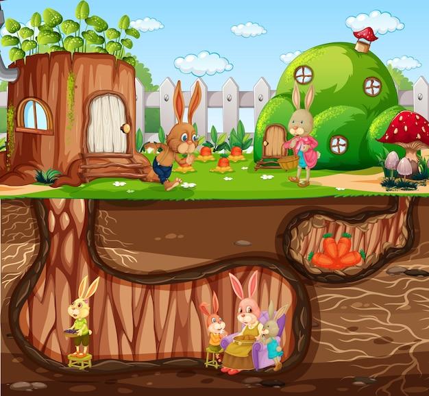 Podziemna królicza nora z powierzchnią ziemi sceny ogrodowej