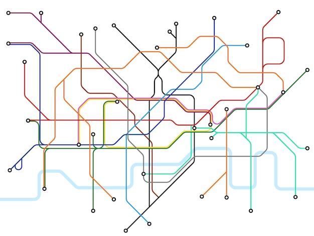 Podziemna mapa londynu. schemat transportu publicznego metra.