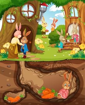 Podziemna nora królika z powierzchnią ziemi sceny ogrodowej