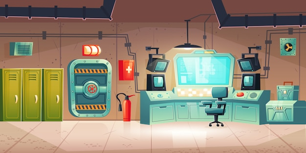 Podziemne wnętrze bunkra, schron przeciwbombowy