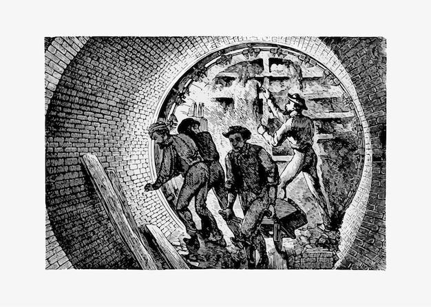 Podziemni pracownicy tunelu