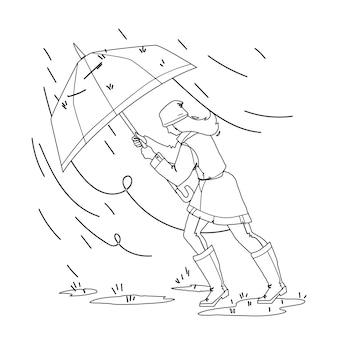 Pogoda deszcz dzień spaceru dziewczyna z parasolem czarna linia ołówek rysunek wektor. młoda kobieta spacer w deszczowej i wietrznej pogody burzowej. postać pani w płaszczu przeciwdeszczowym, spodniach i kaloszach
