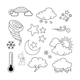 Pogoda doodle wektor zestaw ilustracji z ręcznie rysować linii styl sztuka wektor, gwiazda, słońce