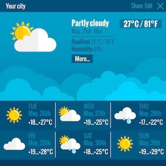 Pogoda interfejs płaski koncepcja
