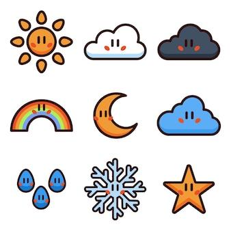 Pogoda kreskówka wektor zestaw ilustracji