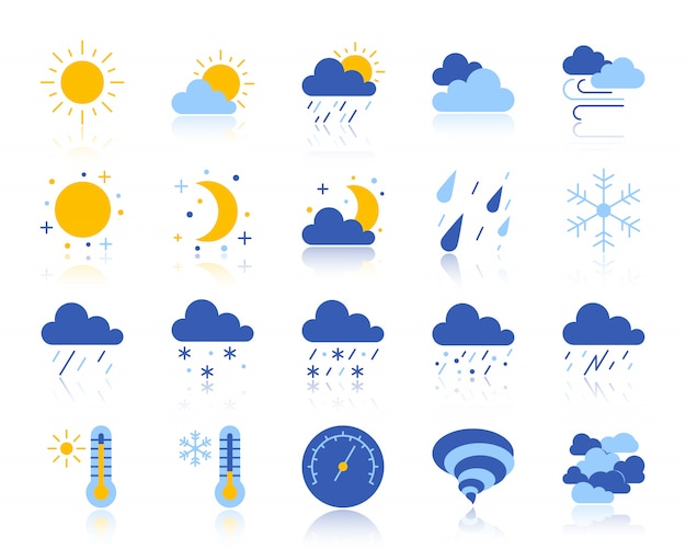 Pogoda, meteorologia, płaski zestaw ikon klimatu obejmuje słońce, chmurę, śnieg, deszcz.