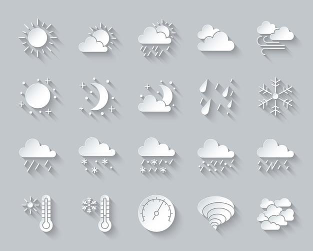 Pogoda, meteorologia, zestaw ikon klimatu obejmuje słońce, chmurę, śnieg, deszcz, cięcie papieru, projektowanie materiałów.