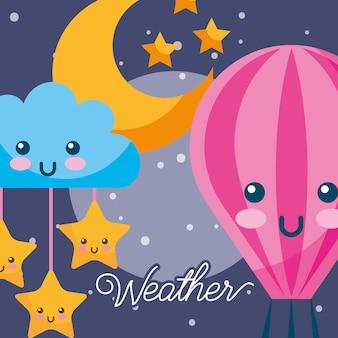 Pogoda, noc, kawaii, gorące powietrze, balon, chmura, gwiazdy, księżyc