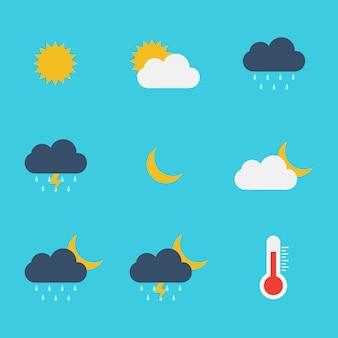 Pogoda płaski ikona wektor szablon projektu