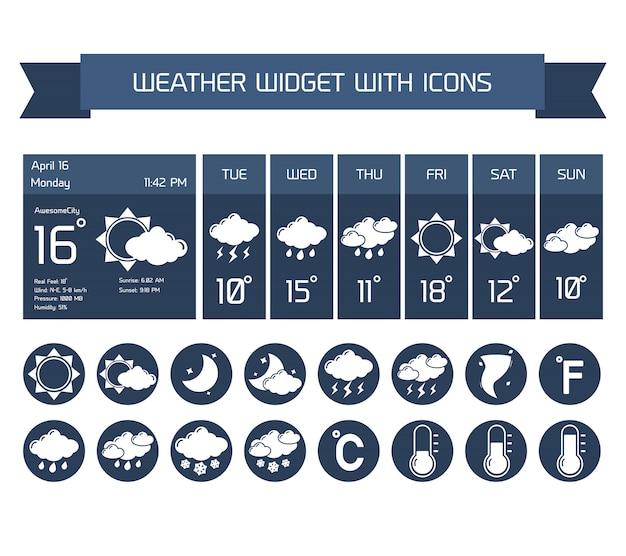 Pogoda szczegółowe prognozy komputera i mobilnych biznes widżety z kolekcji pionowe ciemne ikony na białym na białym tle ilustracji wektorowych