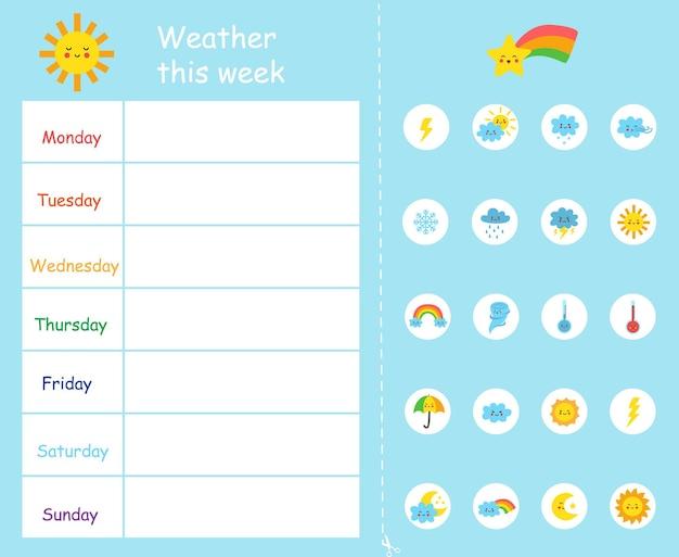 Pogoda w tym tygodniu szablon dla dzieci. diagram pogodowy.