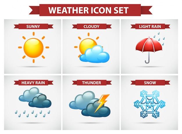 Pogoda zestaw ikon z wieloma warunkami pogodowymi