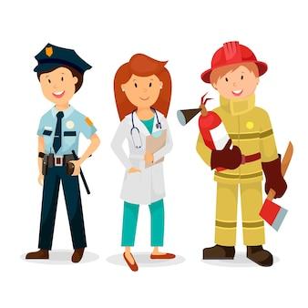 Pogotowie ratunkowe, policjant, lekarz, strażak.