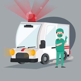 Pogotowie ratunkowe z lekarzem. ewakuacja medyczna pojazdu pogotowia. ilustracja postaci projektu.