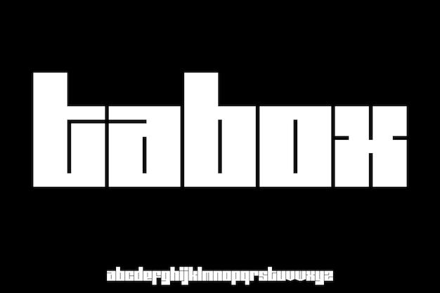 Pogrubiona czcionka wyświetlania alfabetu;