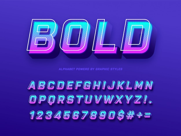 Pogrubiony alfabet 3d