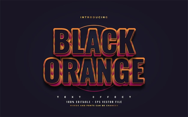 Pogrubiony czarny i pomarańczowy styl tekstu z wytłoczonym efektem 3d. edytowalne efekty stylu tekstu