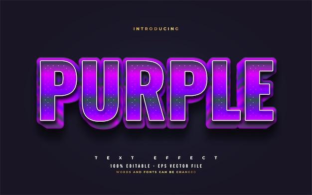 Pogrubiony fioletowy styl tekstu z wytłoczonym efektem 3d. edytowalne efekty stylu tekstu