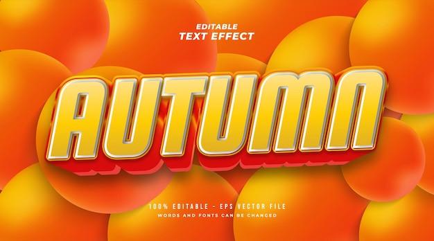 Pogrubiony jesienny styl tekstu w pomarańczowym gradiencie z efektem 3d. edytowalny efekt tekstowy