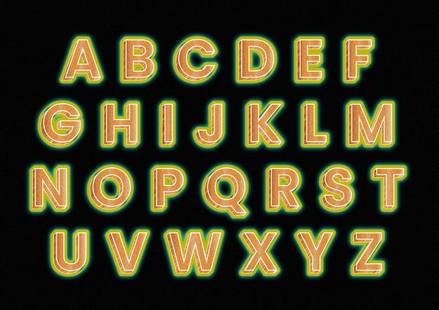 Pogrubiony kolor pomarańczowy zestaw alfabetów ziarna