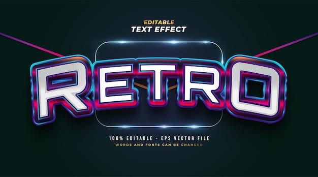Pogrubiony kolorowy styl tekstu retro z wytłoczonym efektem 3d. edytowalny efekt stylu tekstu