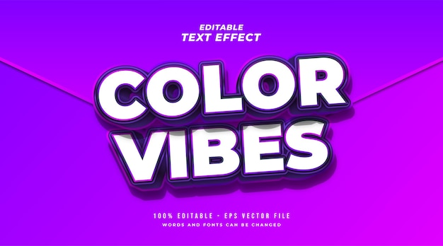 Pogrubiony kolorowy styl tekstu z wytłoczonym efektem 3d. edytowalny efekt stylu tekstu