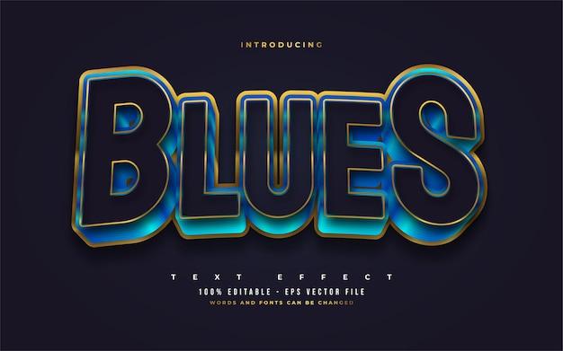 Pogrubiony niebieski i złoty styl tekstu z wytłoczonym efektem 3d. edytowalne efekty stylu tekstu