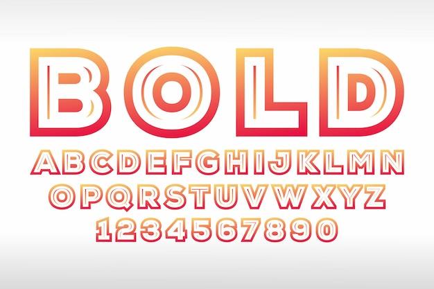Pogrubiony projekt czcionki 3d, alfabet, litery