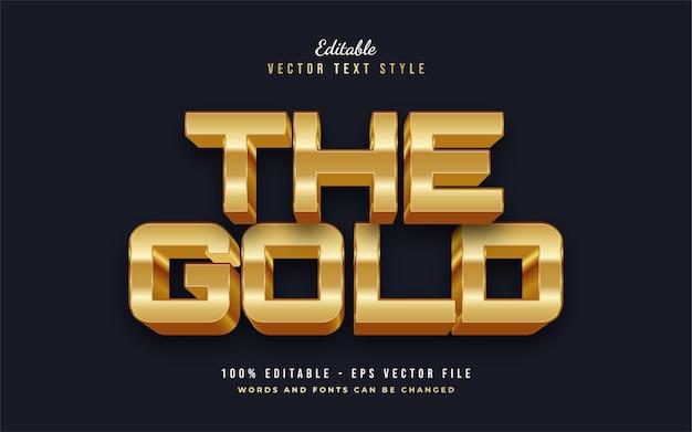 Pogrubiony styl tekstu 3d gold z wytłoczonym efektem. edytowalny efekt stylu tekstu