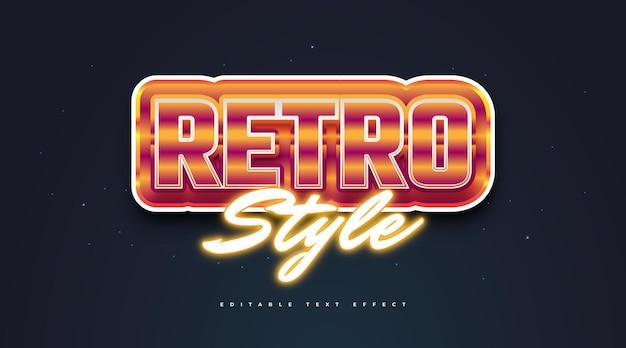 Pogrubiony styl tekstu retro i świecący pomarańczowy efekt neonu. edytowalny efekt stylu tekstu