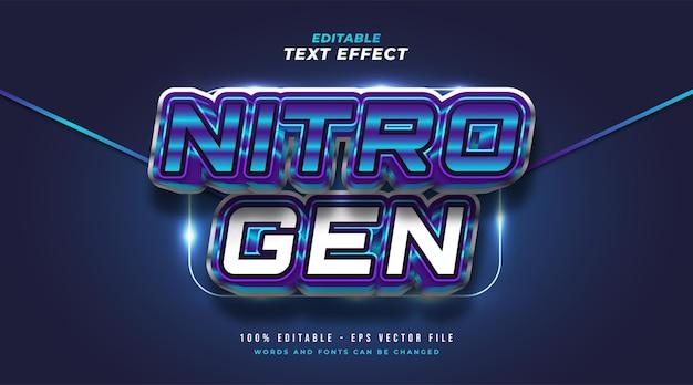 Pogrubiony tekst azotowy w kolorze niebieskim i białym z wytłoczonym efektem 3d. edytowalny efekt stylu tekstu