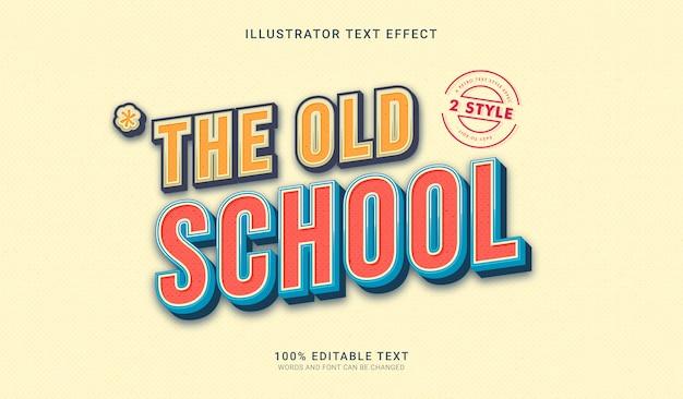 Pogrubiony tekst w stylu retro old school. edytowalny efekt tekstowy