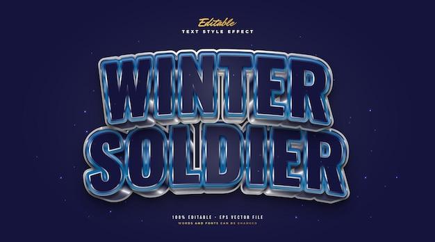 Pogrubiony tekst zimowego żołnierza w kolorze niebieskim, zimnym i metalicznym. edytowalny efekt stylu tekstu