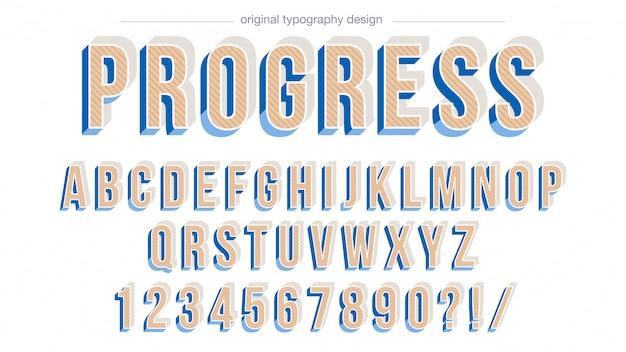 Pogrubiony, ukośny niebieski wzór typografii