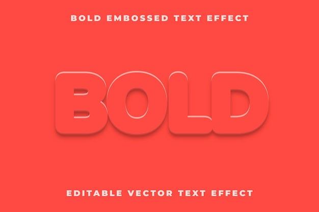 Pogrubiony, wytłoczony, edytowalny efekt tekstu wektorowego