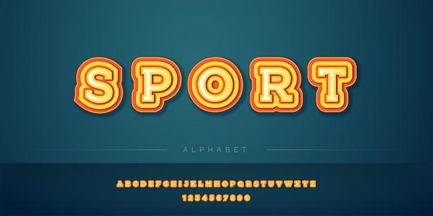 Pogrubiony zestaw żółtych i czerwonych alfabetów 3d