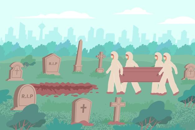 Pogrzebowa płaska kompozycja z widokiem na cmentarz z pejzażem miejskim i ludźmi w kombinezonach ochronnych