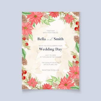 Poinsettia kwiaty zimowe zaproszenie na ślub