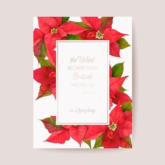 Poinsettia zima kwiatowy karty, boże narodzenie wektor zaproszenie na ślub. szablon transparent pozdrowienie holiday party. realistyczna ramka na kwiaty 3d, ulotka noworoczna, broszura, okładka