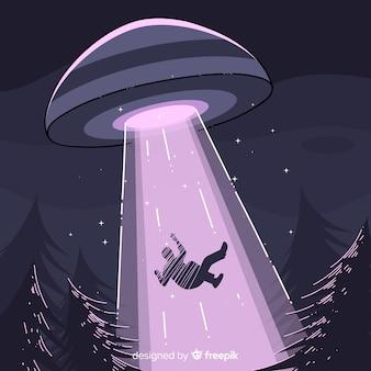 Pojęcie uprowadzenia Ufo z ręcznie rysowane stylu