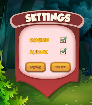 Pojawia się pauza menu z muzyką i przyciskami dźwiękowymi. kompletne menu gry