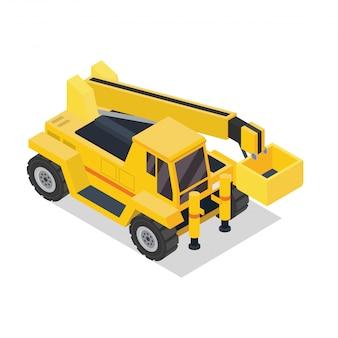 Pojazd Budowlany Izometryczny Dźwig Ciężarówka Premium Wektorów
