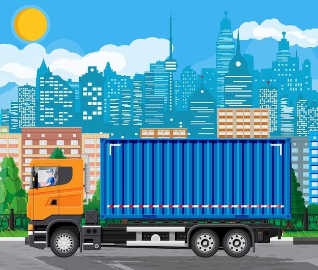 Pojazd kontenerowy dostawy na tle gród. ekspresowe dostarczanie usług ciężarówek handlowych. koncepcja szybkiej i bezpłatnej dostawy samochodem. ładunek i logistyka. ilustracja kreskówka płaski wektor