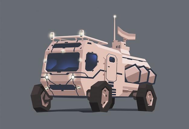 Pojazd łazik marsjański. ilustracja koncepcja, na szarym tle
