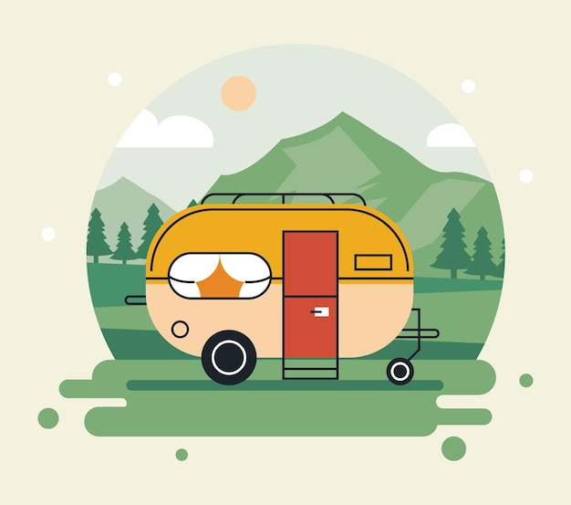 Pojazd rekreacyjny na scenie krajobrazowej